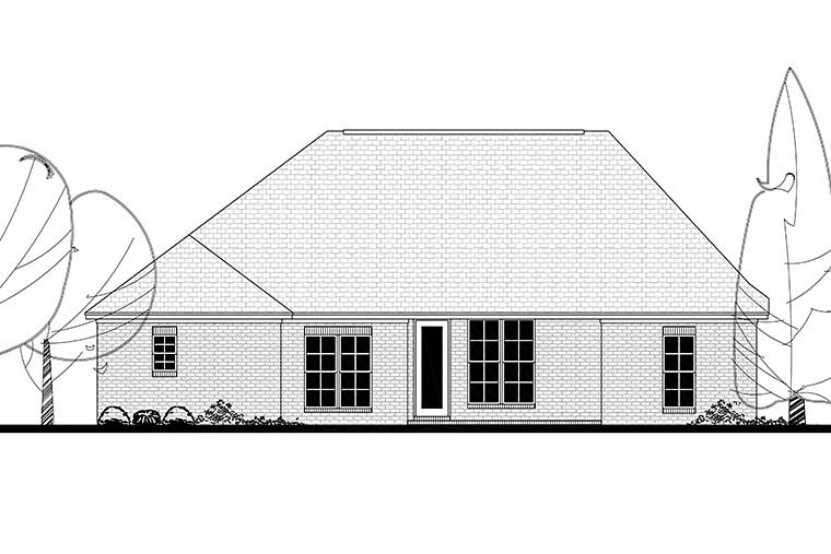 Country, French Country, Traditional Plan with 1826 Sq. Ft., 3 Bedrooms, 2 Bathrooms, 2 Car Garage Rear Elevation