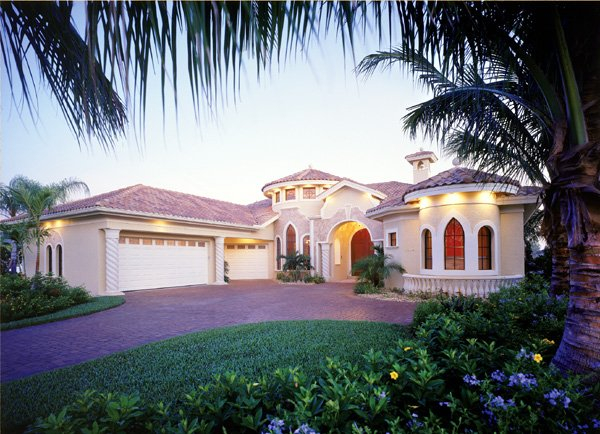 Mediterranean, One-Story Plan with 3316 Sq. Ft., 3 Bedrooms, 3 Bathrooms, 3 Car Garage Elevation
