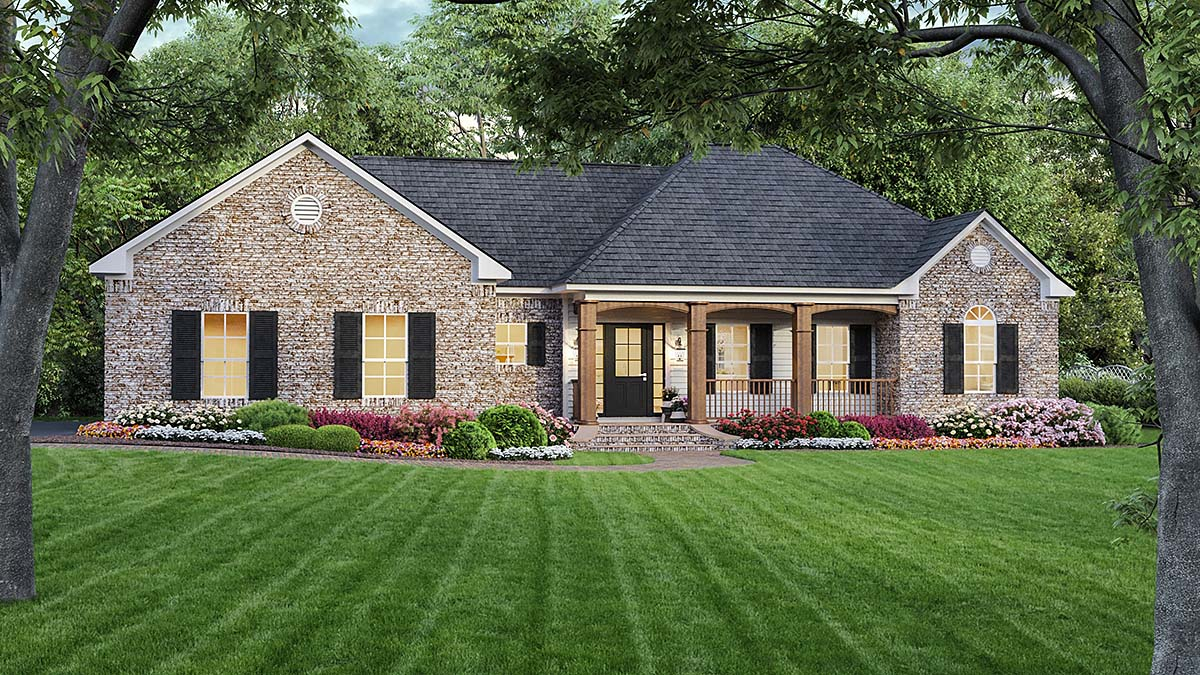 European, Ranch, Traditional Plan with 1639 Sq. Ft., 3 Bedrooms, 2 Bathrooms, 2 Car Garage Elevation