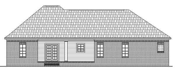 European, Ranch, Traditional Plan with 1639 Sq. Ft., 3 Bedrooms, 2 Bathrooms, 2 Car Garage Rear Elevation