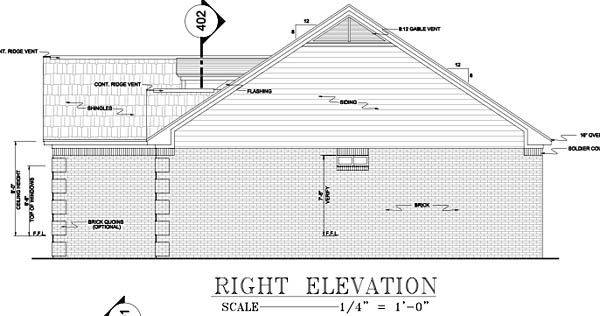 European, Ranch, Traditional Plan with 1751 Sq. Ft., 3 Bedrooms, 2 Bathrooms, 2 Car Garage Picture 8