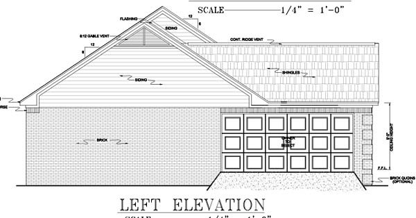 European, Ranch, Traditional Plan with 1751 Sq. Ft., 3 Bedrooms, 2 Bathrooms, 2 Car Garage Picture 9