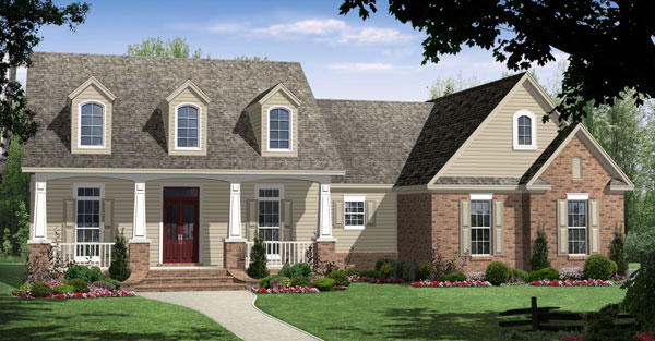 Cape Cod, Craftsman, Traditional Plan with 1800 Sq. Ft., 3 Bedrooms, 2 Bathrooms, 2 Car Garage Elevation
