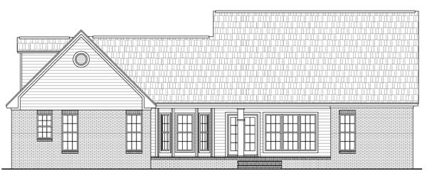 Cape Cod, Craftsman, Traditional Plan with 1800 Sq. Ft., 3 Bedrooms, 2 Bathrooms, 2 Car Garage Rear Elevation