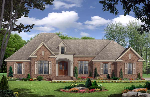 European, French Country, Traditional Plan with 2350 Sq. Ft., 3 Bedrooms, 3 Bathrooms, 2 Car Garage Elevation