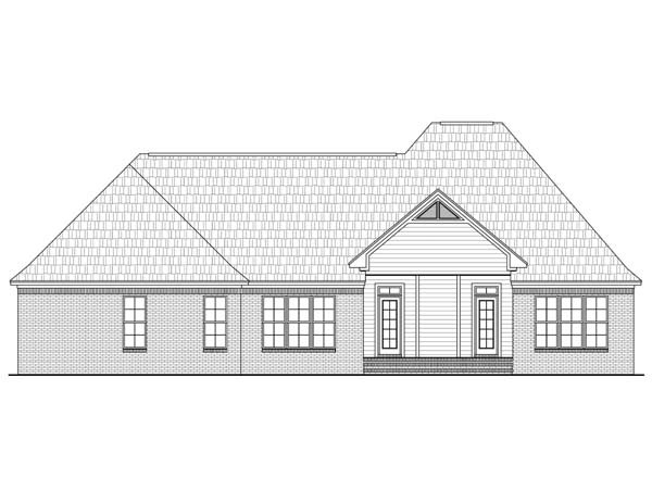 European, French Country, Traditional Plan with 2350 Sq. Ft., 3 Bedrooms, 3 Bathrooms, 2 Car Garage Rear Elevation