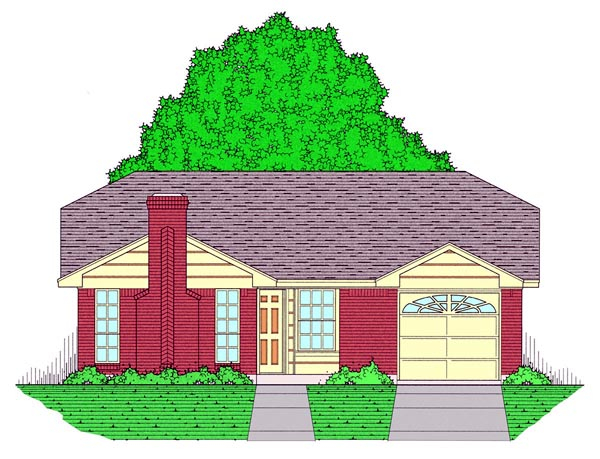 Country, Ranch, Traditional Plan with 1051 Sq. Ft., 3 Bedrooms, 2 Bathrooms, 1 Car Garage Elevation