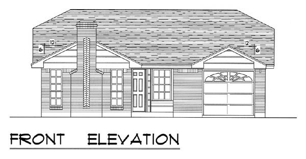 Country, Ranch, Traditional Plan with 1051 Sq. Ft., 3 Bedrooms, 2 Bathrooms, 1 Car Garage Picture 4