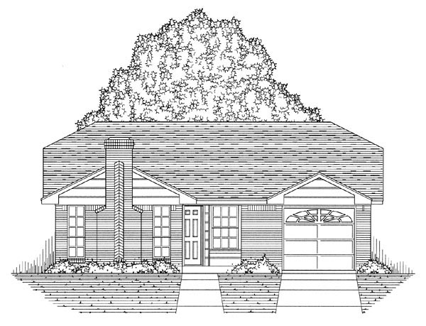 Country, Ranch, Traditional Plan with 1051 Sq. Ft., 3 Bedrooms, 2 Bathrooms, 1 Car Garage Picture 5