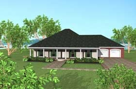European, One-Story House Plan 64541 with 3 Beds, 2 Baths, 2 Car Garage Elevation