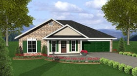 One-Story, Traditional House Plan 64548 with 3 Beds, 2 Baths, 2 Car Garage Elevation