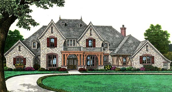European, French Country Plan with 4392 Sq. Ft., 4 Bedrooms, 4 Bathrooms, 3 Car Garage Elevation
