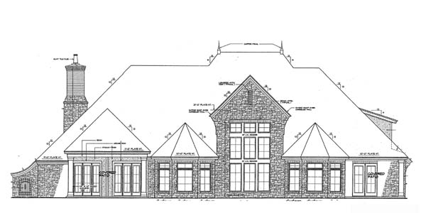 European, French Country Plan with 4392 Sq. Ft., 4 Bedrooms, 4 Bathrooms, 3 Car Garage Rear Elevation