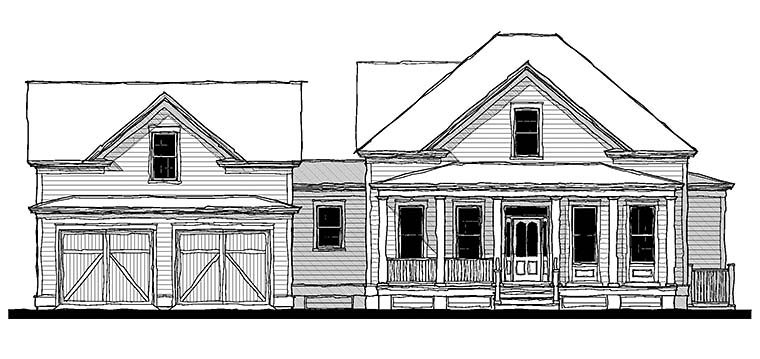 Country, Southern, Traditional Plan with 2540 Sq. Ft., 4 Bedrooms, 3 Bathrooms, 2 Car Garage Picture 2
