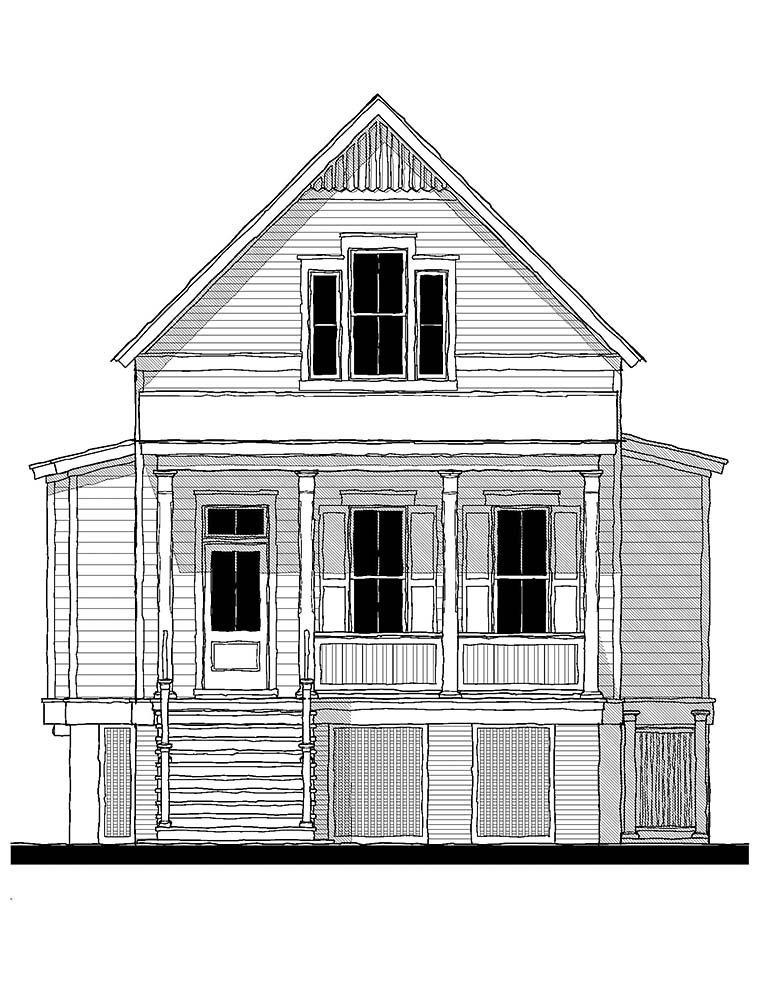 Coastal, Country, Southern, Traditional Plan with 1906 Sq. Ft., 3 Bedrooms, 3 Bathrooms Picture 2