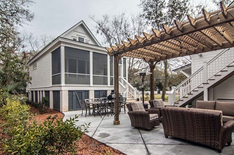 Coastal, Country, Southern, Traditional Plan with 1906 Sq. Ft., 3 Bedrooms, 3 Bathrooms Rear Elevation