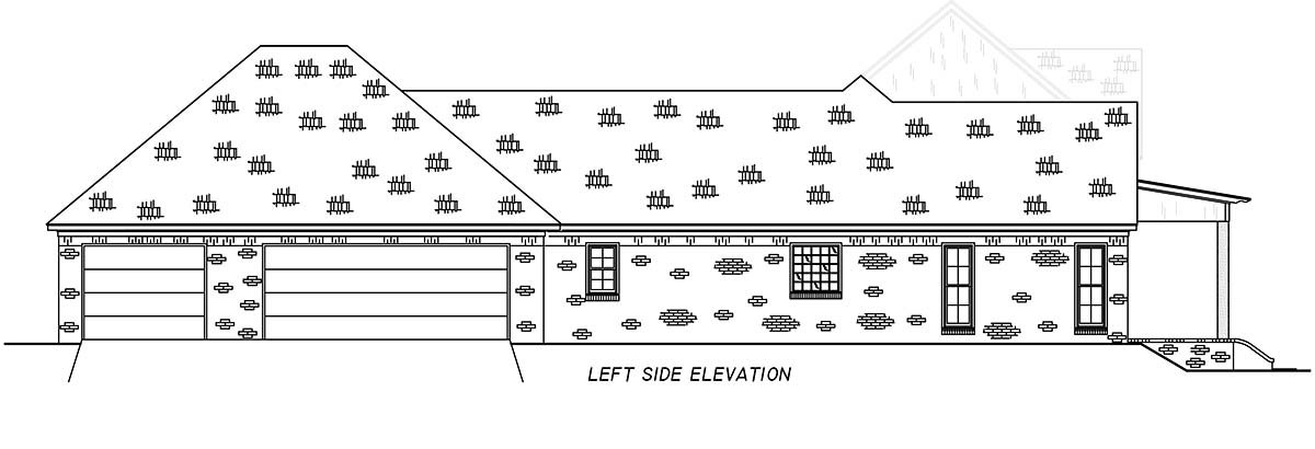 Country, Farmhouse, Traditional Plan with 2513 Sq. Ft., 4 Bedrooms, 3 Bathrooms, 3 Car Garage Picture 3