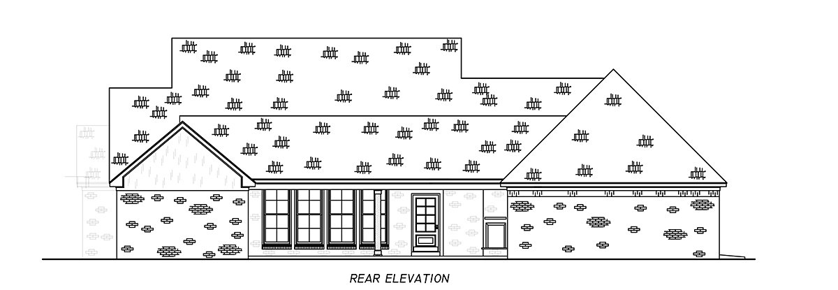 Country, Farmhouse, Traditional Plan with 2513 Sq. Ft., 4 Bedrooms, 3 Bathrooms, 3 Car Garage Rear Elevation