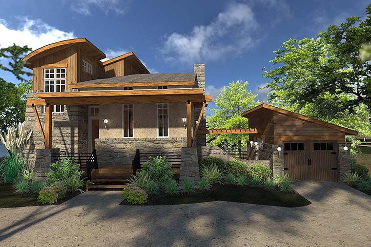 Contemporary, Cottage, Craftsman, Modern, Tuscan Plan with 985 Sq. Ft., 2 Bedrooms, 2 Bathrooms, 1 Car Garage Elevation