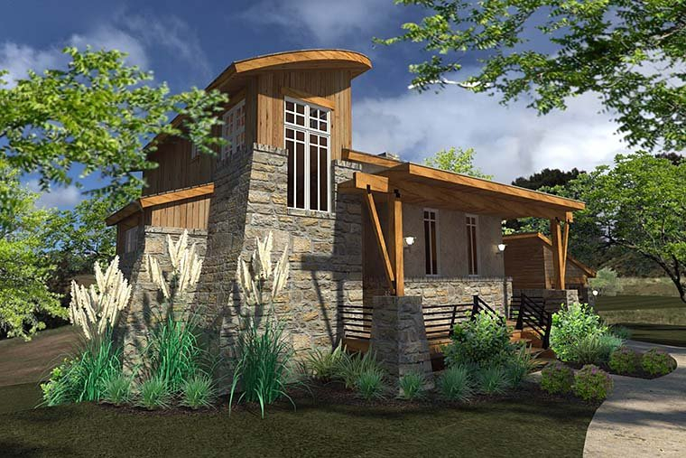 Contemporary, Cottage, Craftsman, Modern, Tuscan Plan with 985 Sq. Ft., 2 Bedrooms, 2 Bathrooms, 1 Car Garage Picture 2