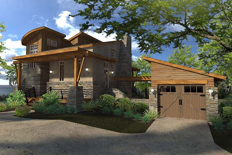 Contemporary, Cottage, Craftsman, Modern, Tuscan Plan with 985 Sq. Ft., 2 Bedrooms, 2 Bathrooms, 1 Car Garage Picture 3