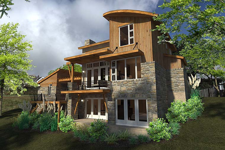 Contemporary, Cottage, Craftsman, Modern, Tuscan Plan with 985 Sq. Ft., 2 Bedrooms, 2 Bathrooms, 1 Car Garage Picture 5