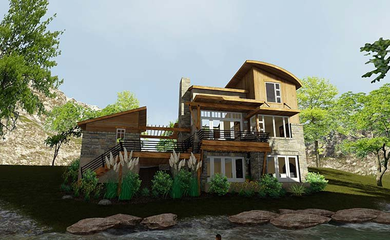 Contemporary, Cottage, Craftsman, Modern, Tuscan Plan with 985 Sq. Ft., 2 Bedrooms, 2 Bathrooms, 1 Car Garage Picture 6