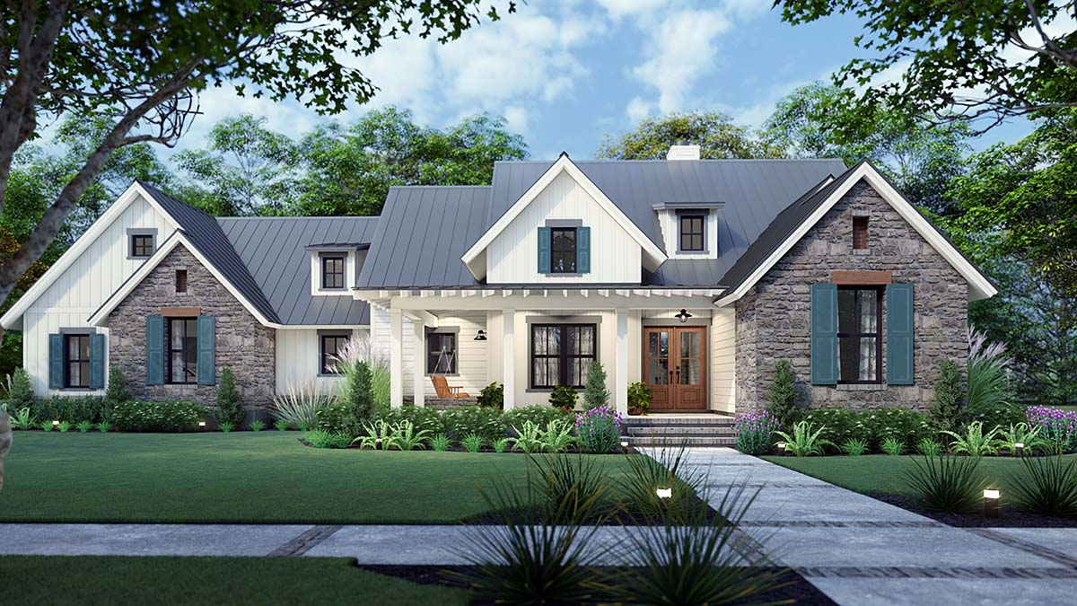 Cottage, Country, Farmhouse, Southern Plan with 1742 Sq. Ft., 3 Bedrooms, 3 Bathrooms, 2 Car Garage Elevation