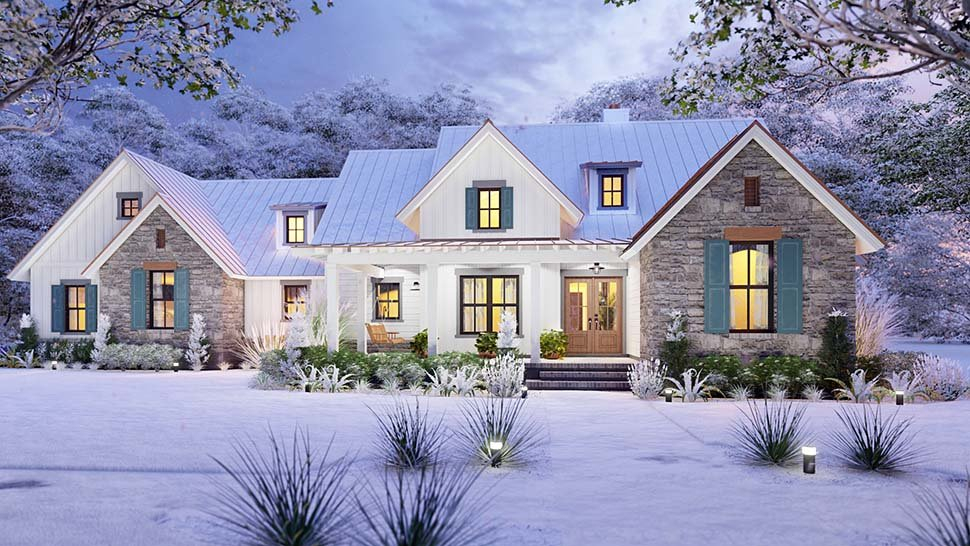 Cottage, Country, Farmhouse, Southern Plan with 1742 Sq. Ft., 3 Bedrooms, 3 Bathrooms, 2 Car Garage Picture 4