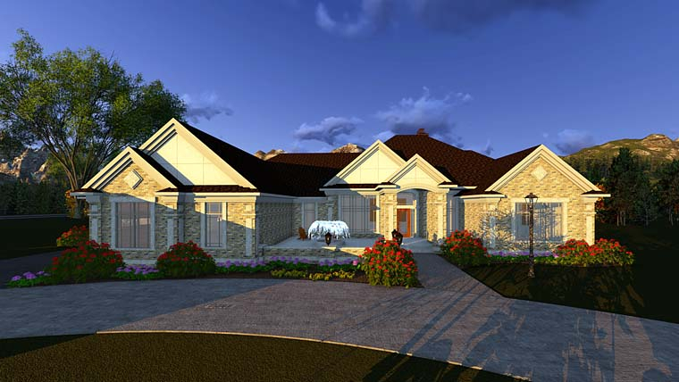 Traditional Plan with 4373 Sq. Ft., 2 Bedrooms, 3 Bathrooms, 4 Car Garage Picture 2