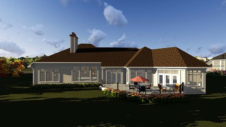 Traditional Plan with 4373 Sq. Ft., 2 Bedrooms, 3 Bathrooms, 4 Car Garage Rear Elevation
