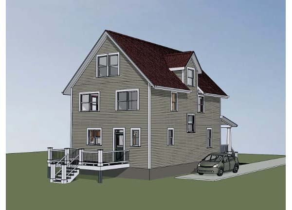 Colonial, Cottage, Southern Plan with 1667 Sq. Ft., 3 Bedrooms, 3 Bathrooms Rear Elevation