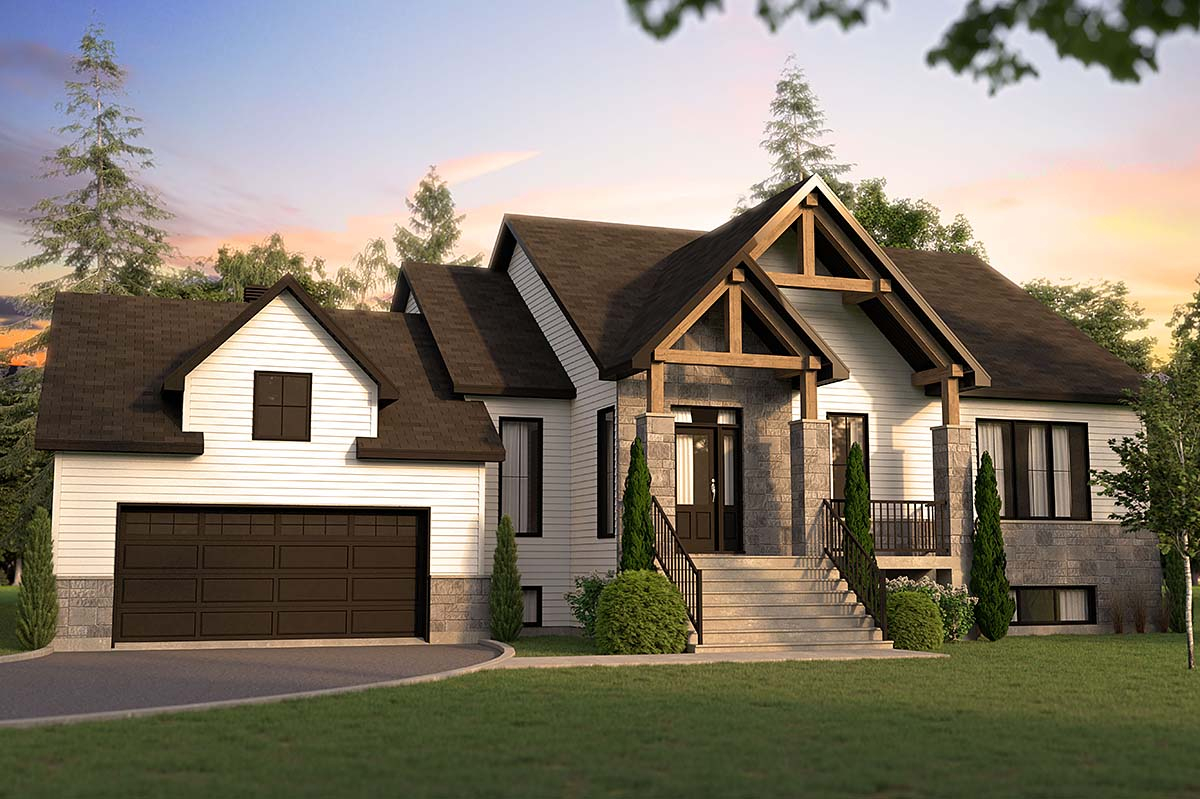 Country, Craftsman, Farmhouse, Ranch Plan with 1583 Sq. Ft., 3 Bedrooms, 1 Bathrooms, 2 Car Garage Elevation