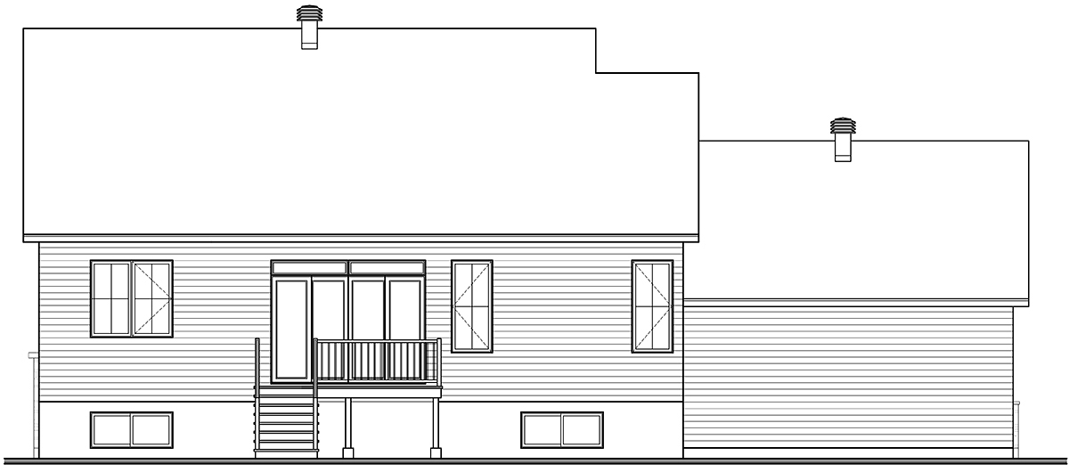 Country, Craftsman, Farmhouse, Ranch Plan with 1583 Sq. Ft., 3 Bedrooms, 1 Bathrooms, 2 Car Garage Rear Elevation