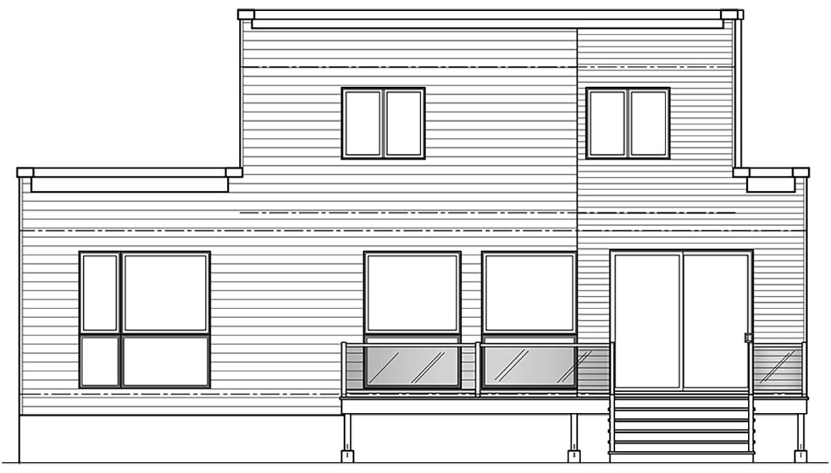 Plan with 1644 Sq. Ft., 4 Bedrooms, 3 Bathrooms Rear Elevation