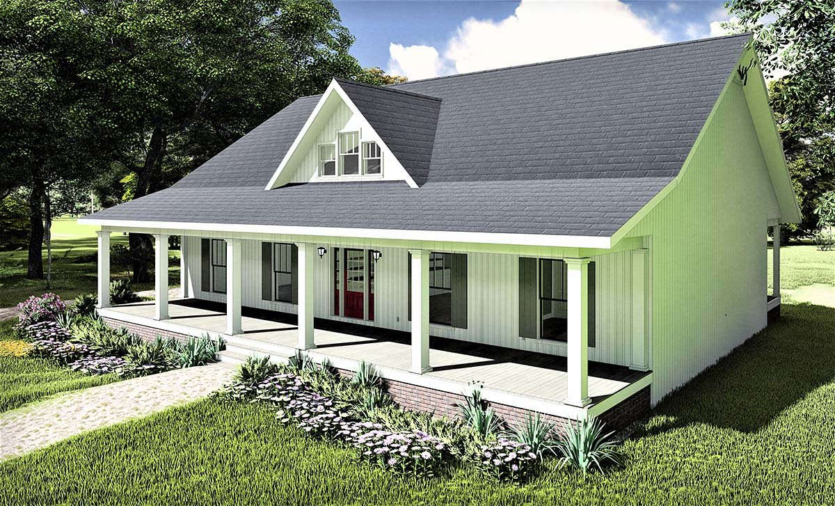 Country, Southern Plan with 1611 Sq. Ft., 3 Bedrooms, 2 Bathrooms, 2 Car Garage Picture 2