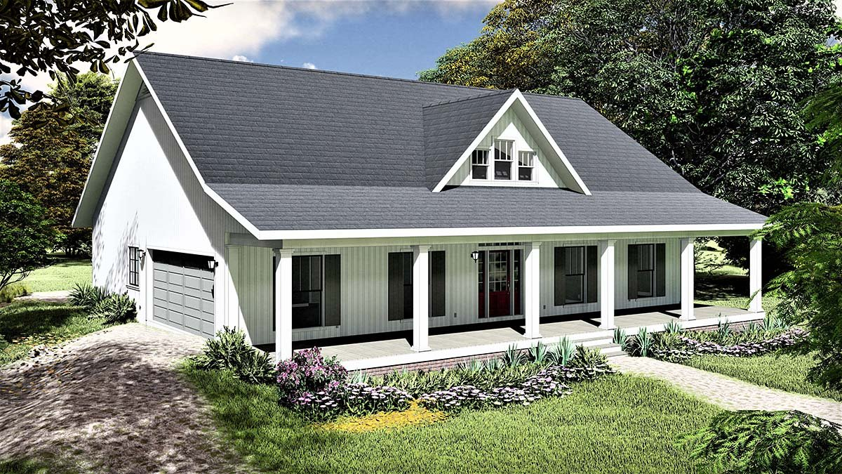 Country, Southern Plan with 1611 Sq. Ft., 3 Bedrooms, 2 Bathrooms, 2 Car Garage Picture 3
