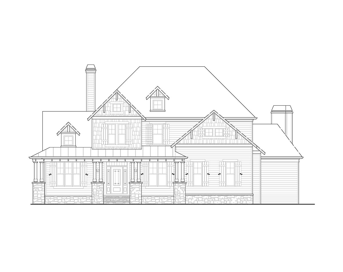 Country, Farmhouse, Southern, Traditional Plan with 2589 Sq. Ft., 4 Bedrooms, 3 Bathrooms, 2 Car Garage Picture 2