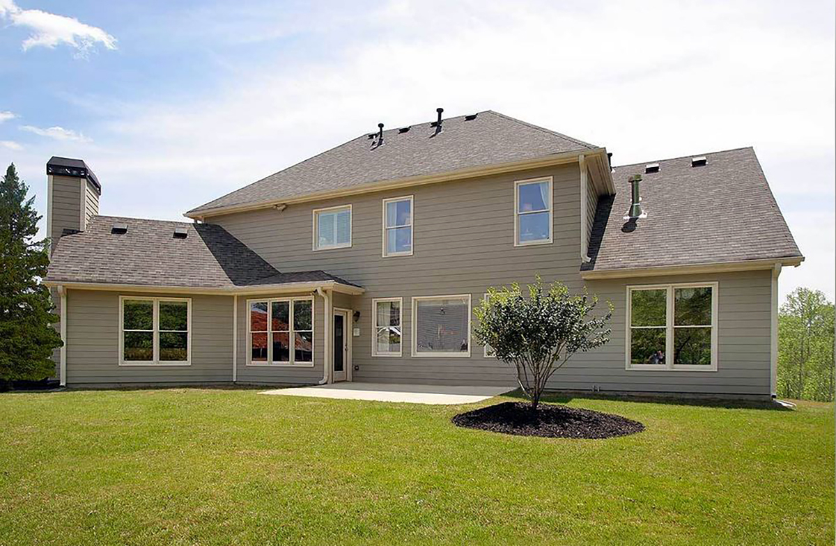 Country, Farmhouse, Southern, Traditional Plan with 2589 Sq. Ft., 4 Bedrooms, 3 Bathrooms, 2 Car Garage Rear Elevation