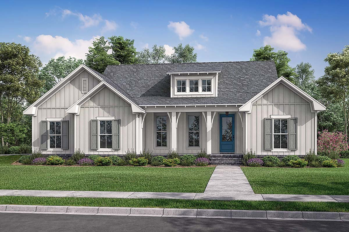 Cottage, Country, Farmhouse Plan with 1697 Sq. Ft., 3 Bedrooms, 2 Bathrooms, 2 Car Garage Elevation