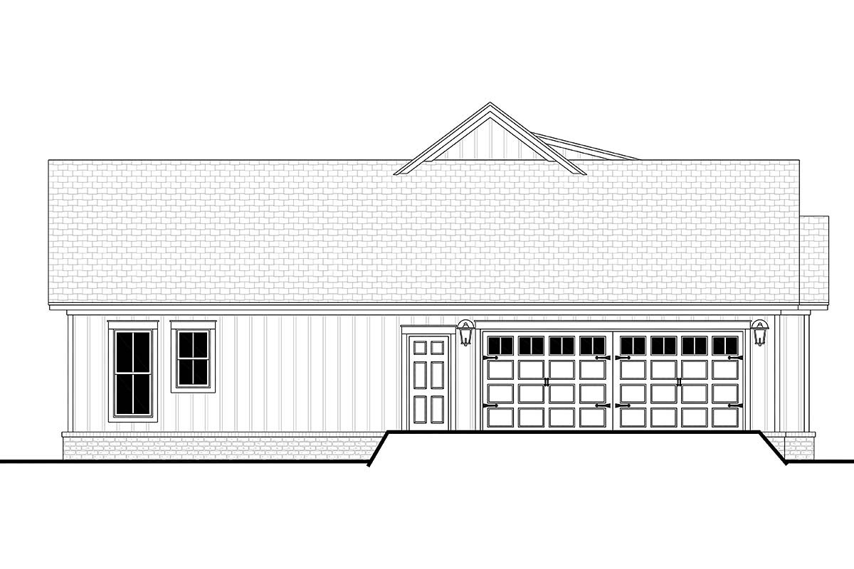 Cottage, Country, Farmhouse Plan with 1697 Sq. Ft., 3 Bedrooms, 2 Bathrooms, 2 Car Garage Picture 3