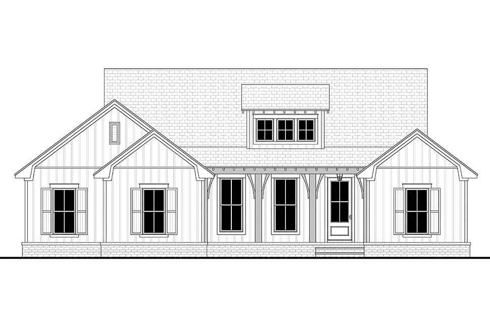 Cottage, Country, Farmhouse Plan with 1697 Sq. Ft., 3 Bedrooms, 2 Bathrooms, 2 Car Garage Picture 4