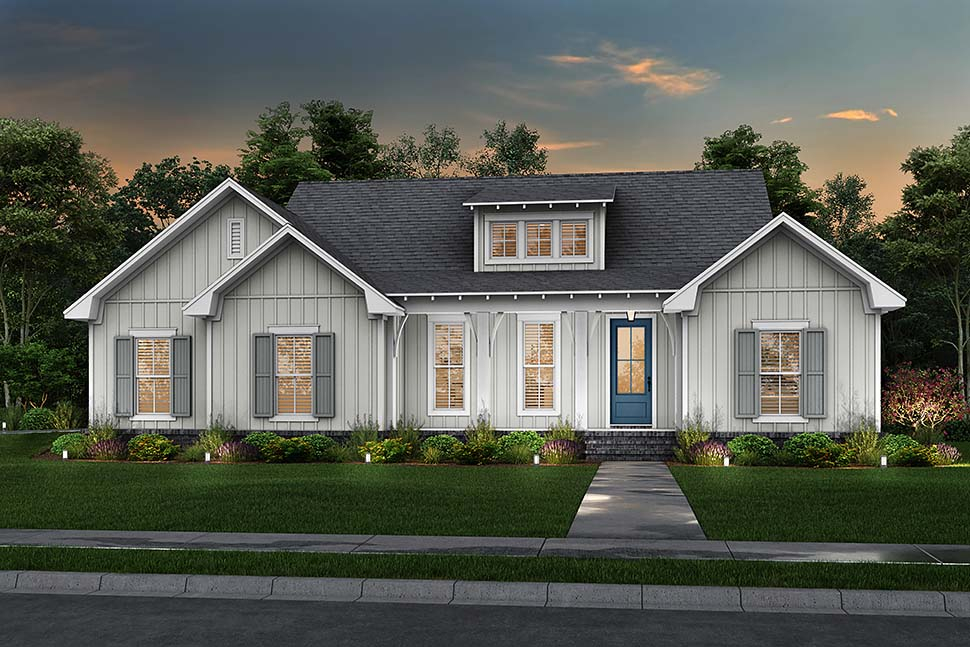 Cottage, Country, Farmhouse Plan with 1697 Sq. Ft., 3 Bedrooms, 2 Bathrooms, 2 Car Garage Picture 5