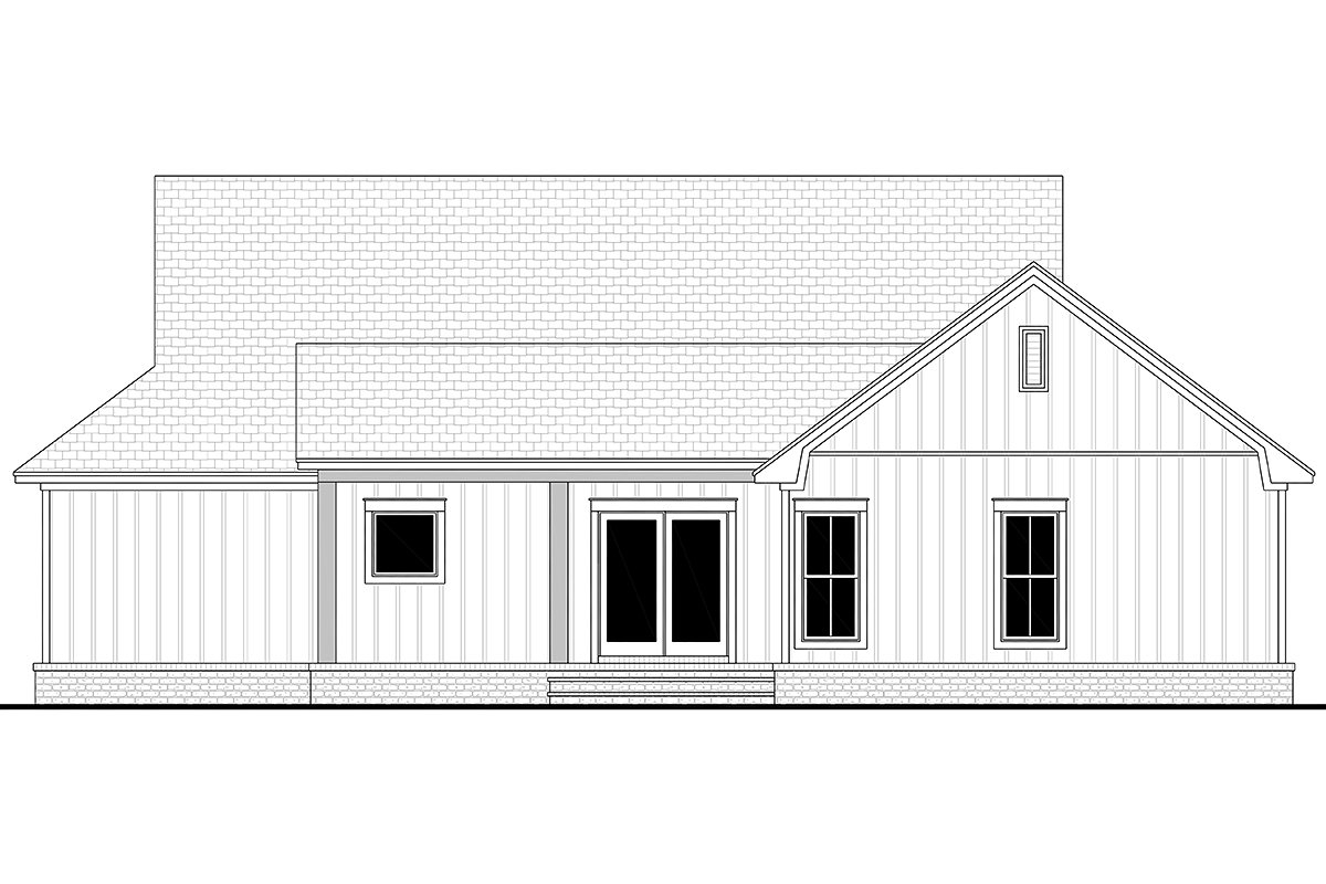 Cottage, Country, Farmhouse Plan with 1697 Sq. Ft., 3 Bedrooms, 2 Bathrooms, 2 Car Garage Rear Elevation