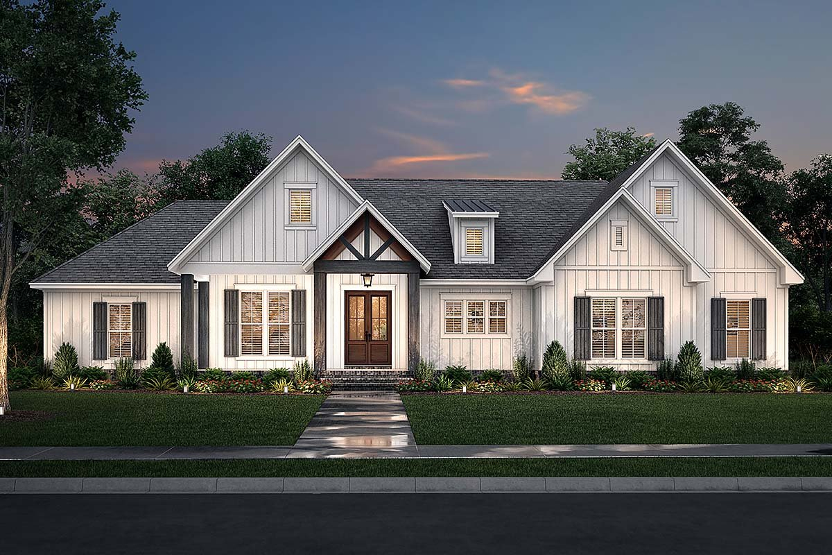 Country, Farmhouse, Southern, Traditional Plan with 2249 Sq. Ft., 3 Bedrooms, 3 Bathrooms, 2 Car Garage Elevation