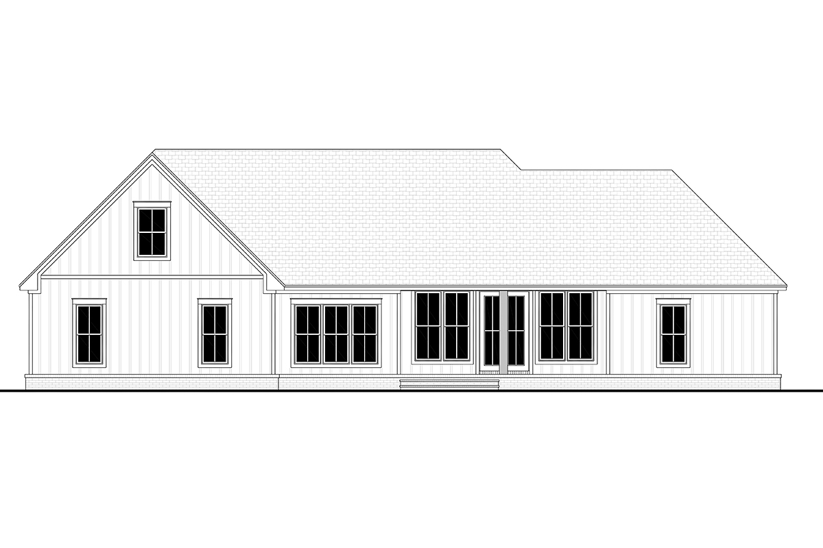 Country, Farmhouse, Southern, Traditional Plan with 2249 Sq. Ft., 3 Bedrooms, 3 Bathrooms, 2 Car Garage Rear Elevation