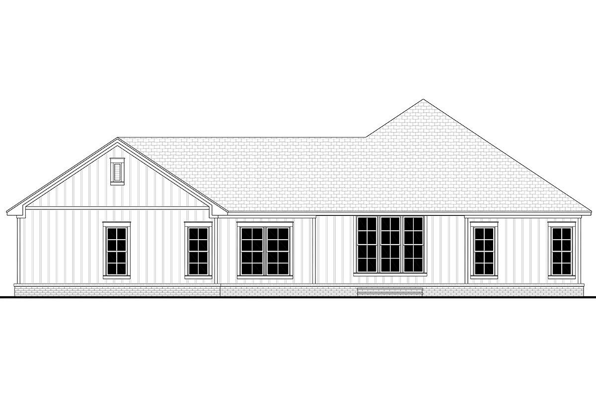 Country, Farmhouse, Ranch Plan with 2339 Sq. Ft., 3 Bedrooms, 3 Bathrooms, 2 Car Garage Rear Elevation