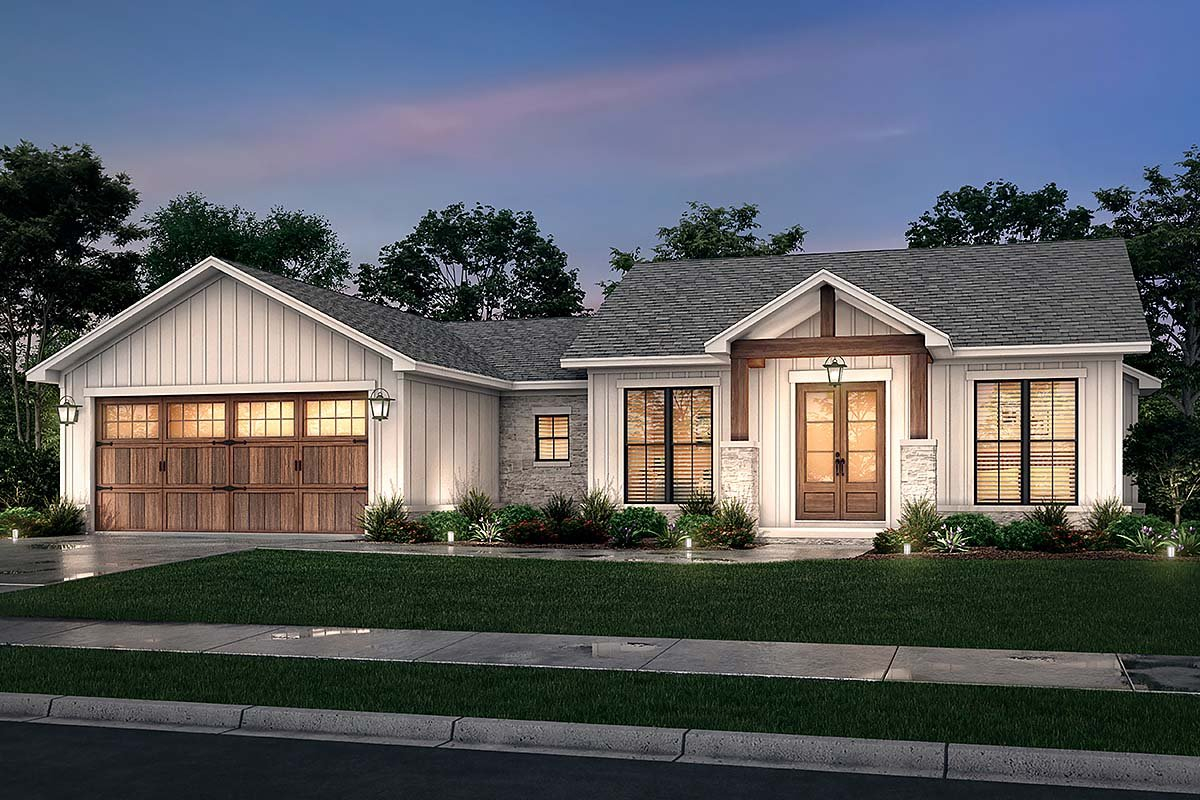 Bungalow, Country, Craftsman, Farmhouse, Ranch Plan with 1599 Sq. Ft., 3 Bedrooms, 3 Bathrooms, 2 Car Garage Elevation
