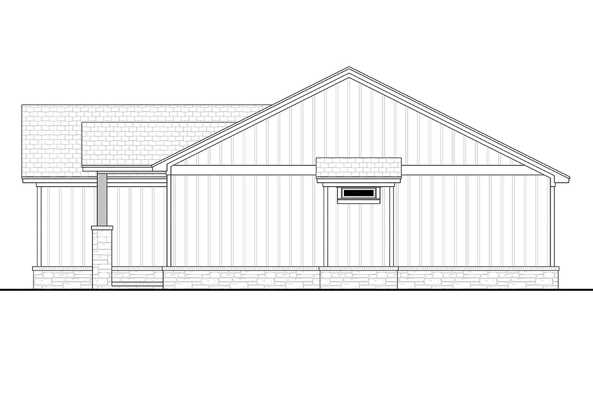 Bungalow, Country, Craftsman, Farmhouse, Ranch Plan with 1599 Sq. Ft., 3 Bedrooms, 3 Bathrooms, 2 Car Garage Picture 2
