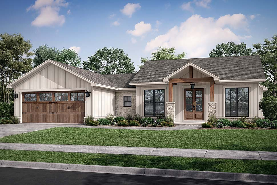 Bungalow, Country, Craftsman, Farmhouse, Ranch Plan with 1599 Sq. Ft., 3 Bedrooms, 3 Bathrooms, 2 Car Garage Picture 5